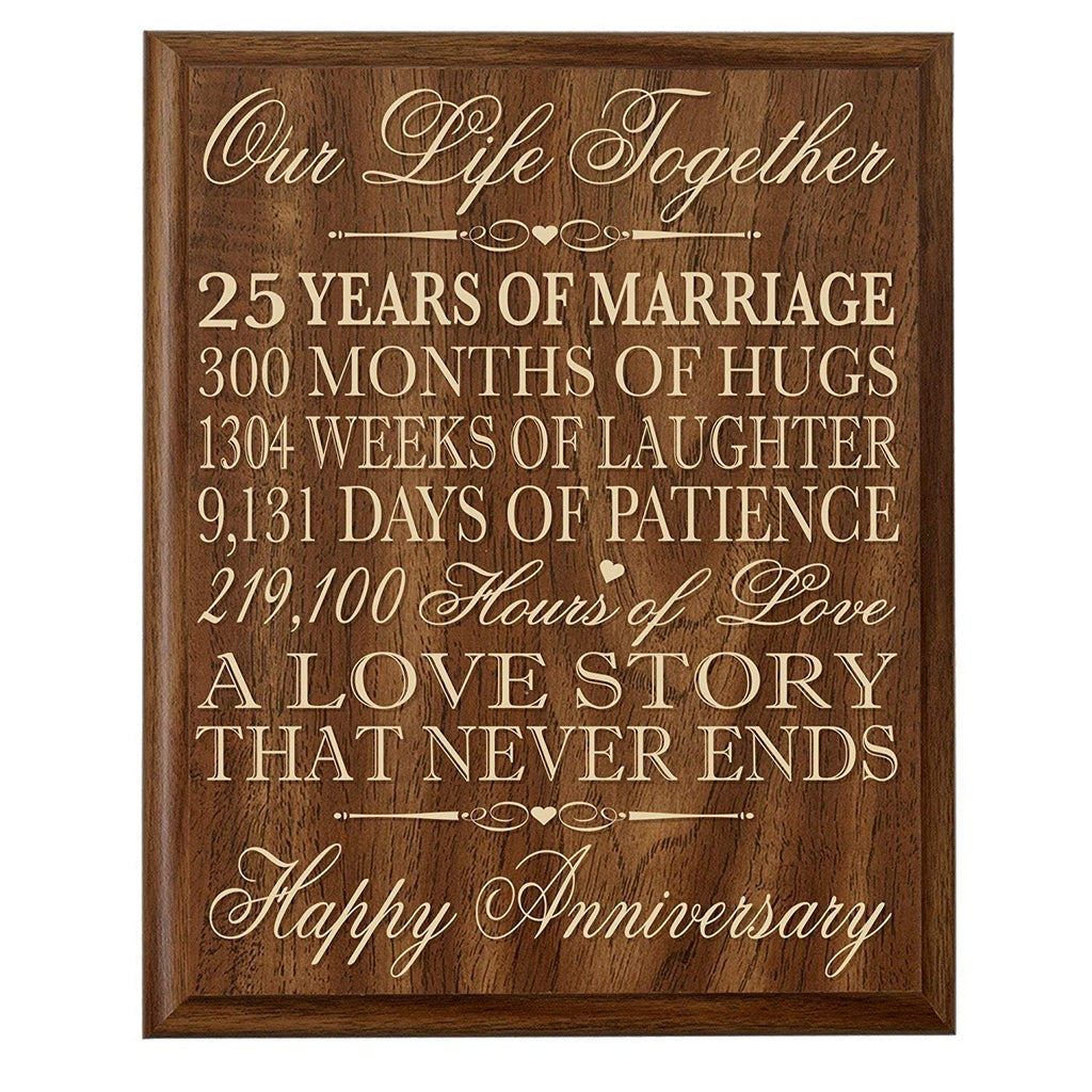 25th Wedding Anniversary Wall Plaque Gifts For Couple 25th