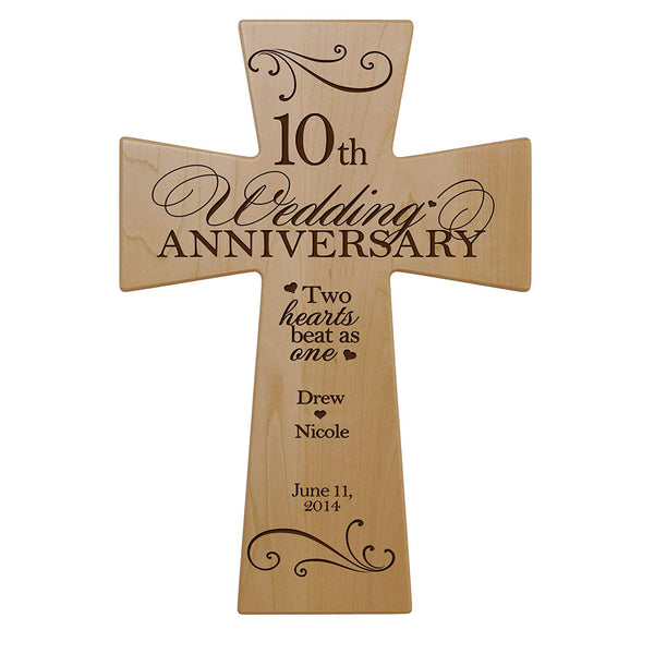 Personalized 10th Anniversary Maple Wall Cross - Two Hearts Beat 7x11
