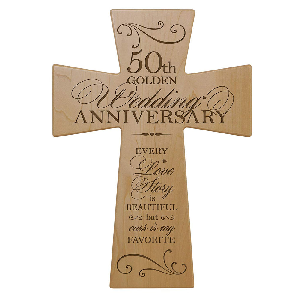 What Is The Gift For 50th Wedding Anniversary: 50th Wedding Anniversary Maple Wood Wall Cross Gift For