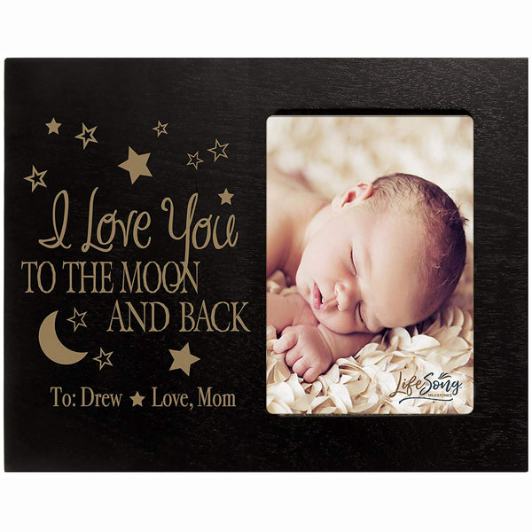 Personalized Valentine's Day Photo Frame Gift Custom Engraved ideas for couple I love you to the moon and back Frame holds 4 x 6 picture