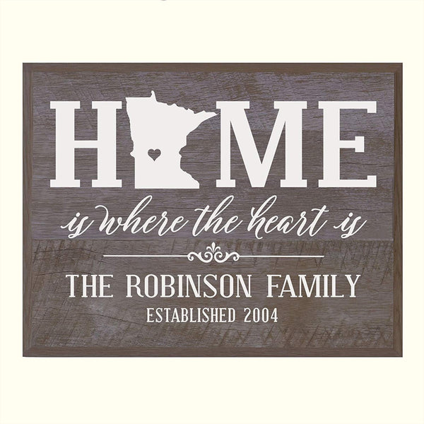 Personalized Minnesota State Home is Where the heart is Sign