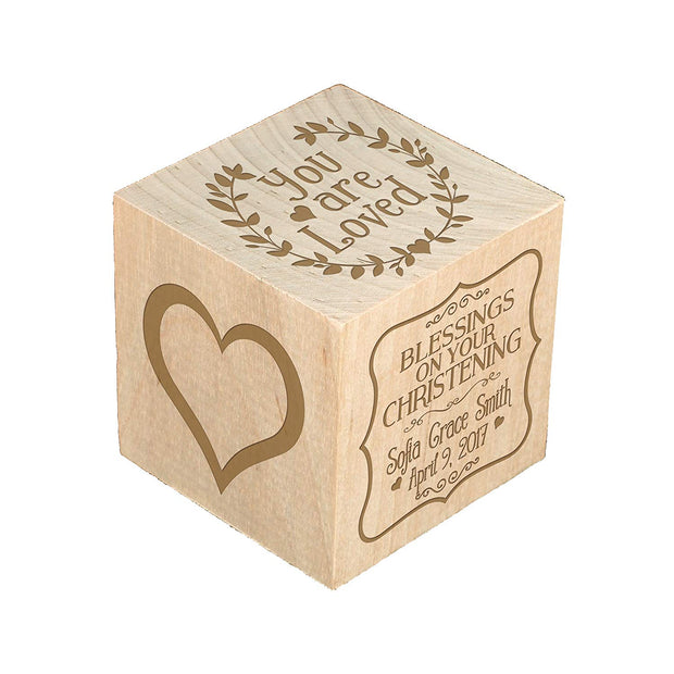 Personalized Baby Dedication Maple Blocks - May God Bless You You Are Loved