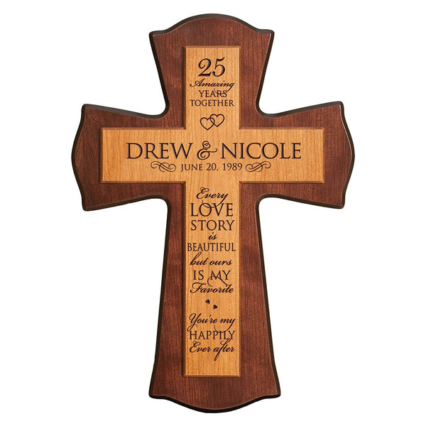 "Personalized 25th Anniversary Wall Cross - Every Love Story Is Beautiful (12"" x 17"")"