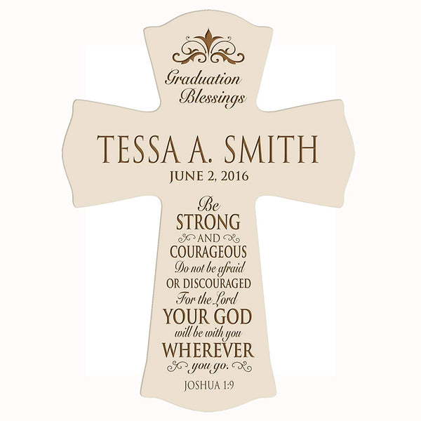 "LifeSong Milestones Personalized Graduation gifts for graduate ideas for men and women custom wall cross Be Strong and Courageous Joshua 1:9 (8.5"" x 11"", Ivory)"