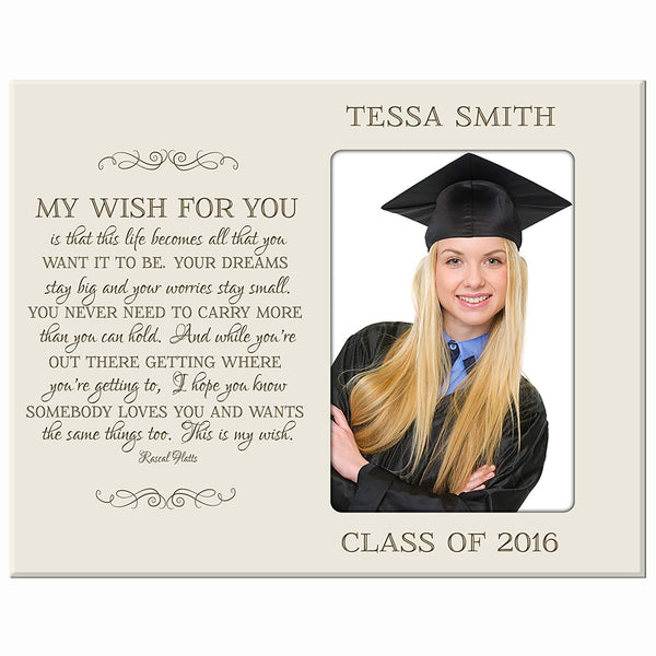 LifeSong Milestones Personalized Graduation picture frame gift for graduate ideas for men and women custom photo frame My Wish For You