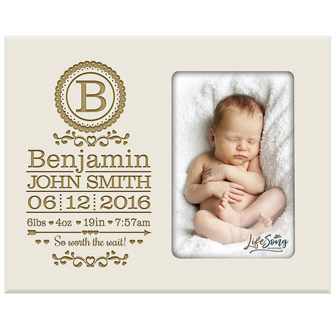 Personalized New Baby Engraved Photo Frame - So Worth The Wait Ivory