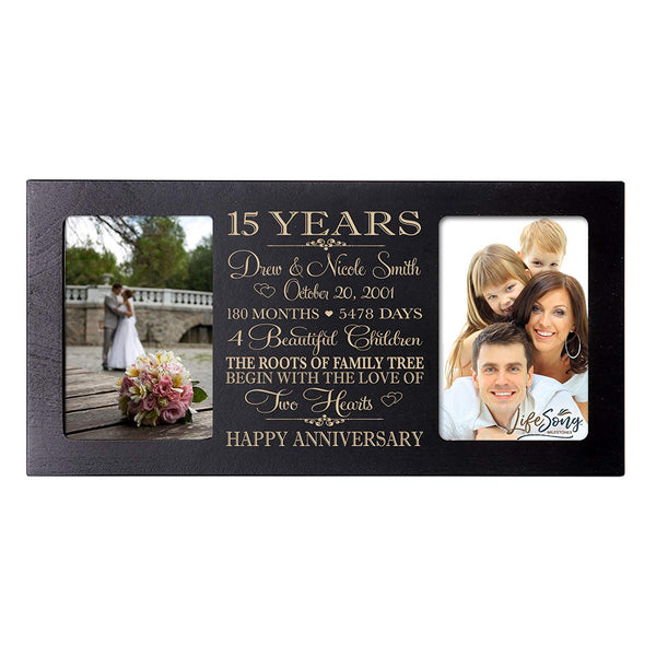 Personalized 15th Year Anniversary Double Photo Frame Black