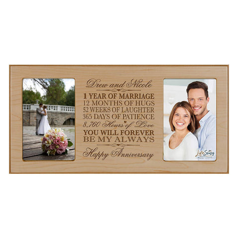 Personalized 1st Anniversary Double Photo Frame - Happy Anniversary Maple