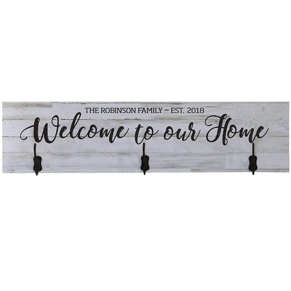 LifeSong Milestones Personalized Welcome To Our Home Family Established Date Wall Signs Custom Last Name for home Wedding, Anniversary, Living Room, Entryway, Kitchen, Bedroom