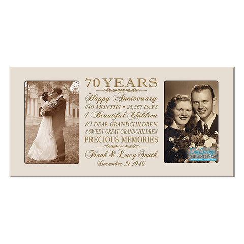 Personalized 70th Anniversary Double Photo Frame - Happy Anniversary Ivory