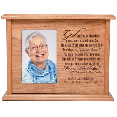 personalized urn human keepsake memorial adult children ashes God saw you getting tired