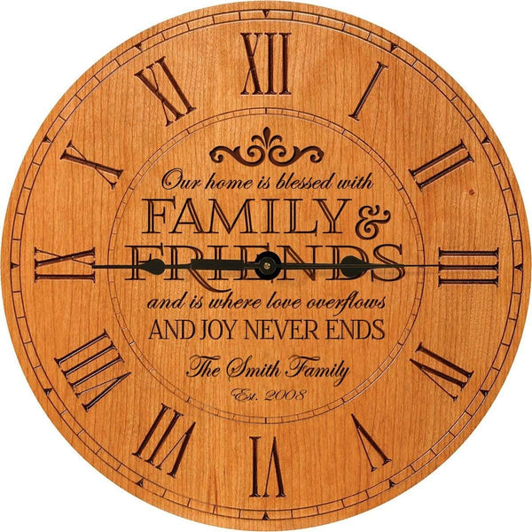 Our Family is Blessed Anniversary Cherry Wood Clock