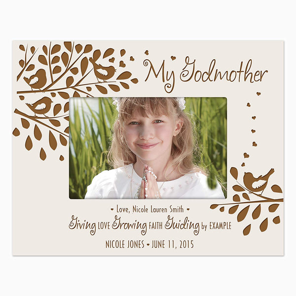 Gift for Godmother from Godchild Personalized Godparents Photo frame holds 4x6 photo Giving Love Growing Faith Guiding by Example