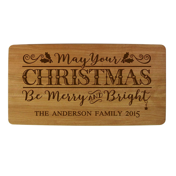 "Personalized Christmas Solid Cherry Wood Cutting Boards Customized with Family Name and Year Established Housewarming Gifts 11.75"" L X 6"" W X .75 By LifeSong Milestones"