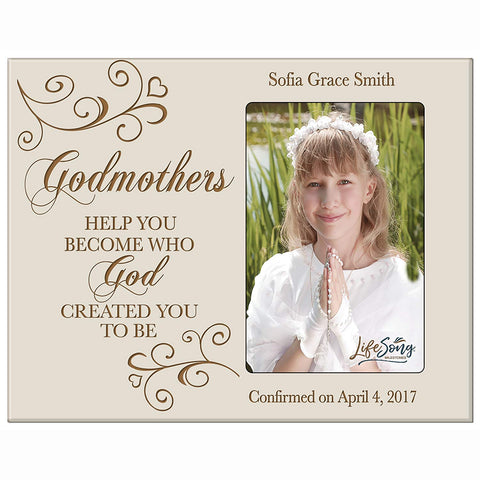 Personalized Godmother Gift Photo Frame - Help You Become Ivory