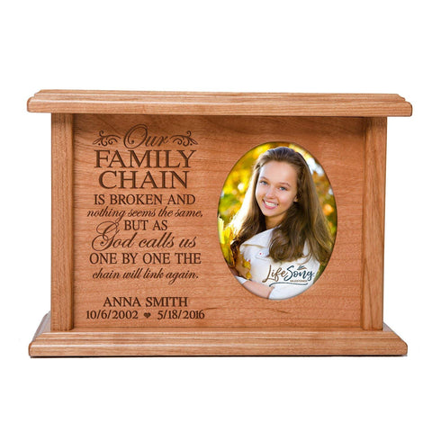 Cremation Urns for Human Ashes SMALL Memorial Keepsake box for cremains, personalized Urn for adults and children ashes Our FAMILY CHAIN IS BROKEN...SMALL portion of ashes holds 2x3 photo