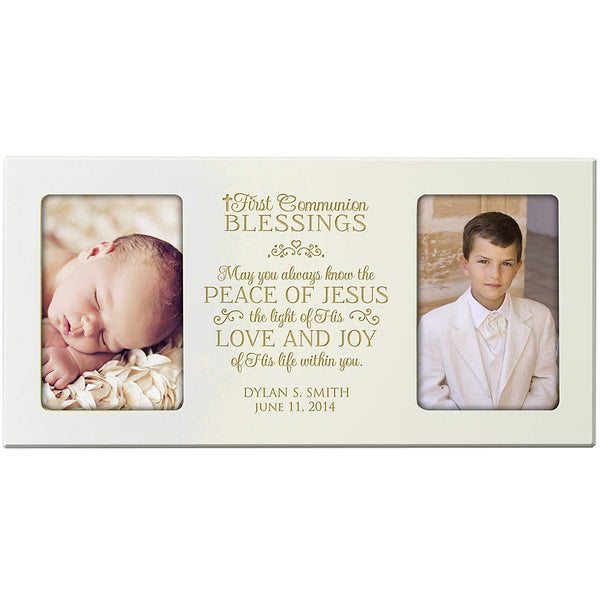 LifeSong Milestones Personalized First Communion Blessings photo frame Gift Custom Engraved Christening picture frame holds 2 -4x6 photos May You always know the Peace of Jesus