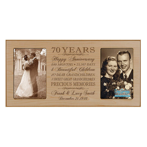Personalized 70th Anniversary Double Photo Frame - Happy Anniversary Maple