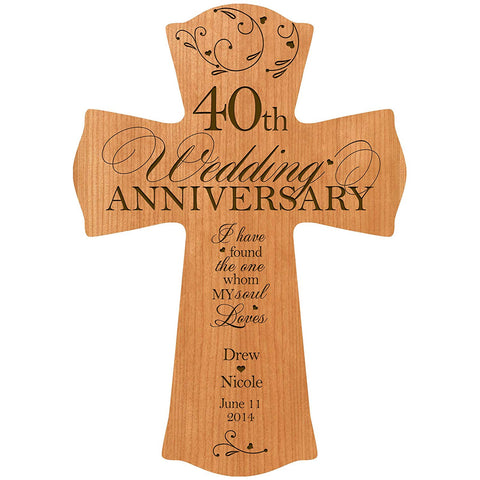 40th Wedding Anniversary Wood Wall Cross Custom and Personalized