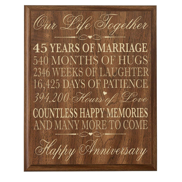 LifeSong Milestones Parents 45th Wedding Anniversary Wall Plaque Gifts for Couple 45th Anniversary Gifts for Her 45th Wedding Anniversary Gifts for Him Special Dates to Remember By (Walnut)