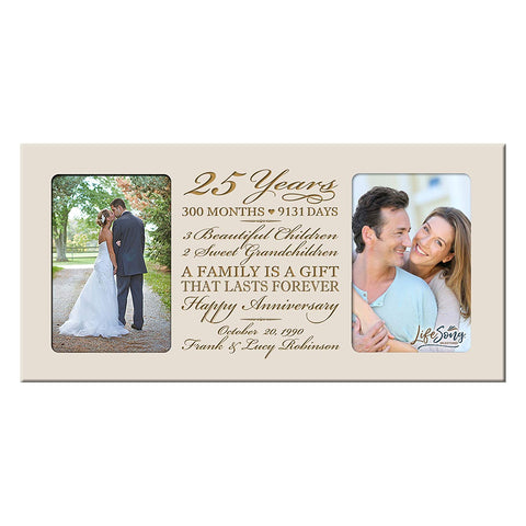 Personalized 25th Year Anniversary Double Photo Frame Ivory