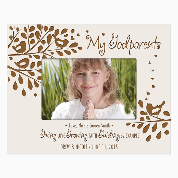 LifeSong Milestones Godparents picture frame from Godchild Personalized Gift Photo frame holds 4x6 photo Giving Love Growing Faith Guiding by Example
