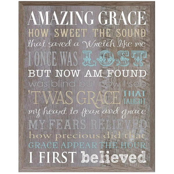 Amazing Grace Gift for husband wife Parents, best friend, and Christian gift ideas 12 Inches Wide X 15 Inches High Wall Plaque By LifeSong Milestones (Pine)