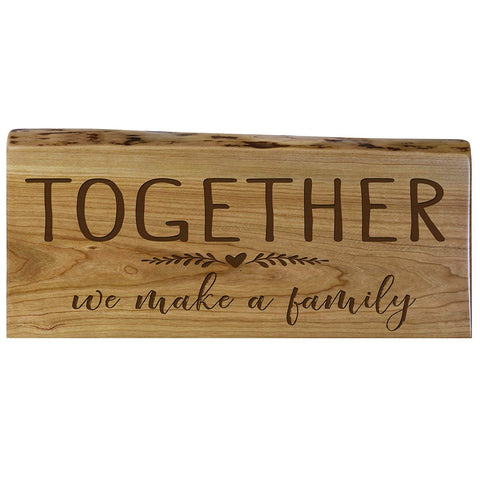 Family Gift Natural Cherry Live Edge Wood Wall Plaque Wedding Gift