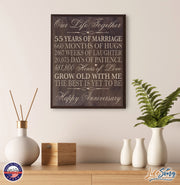 55 fifty fifth year anniversary marriage wood wooden wall plaque