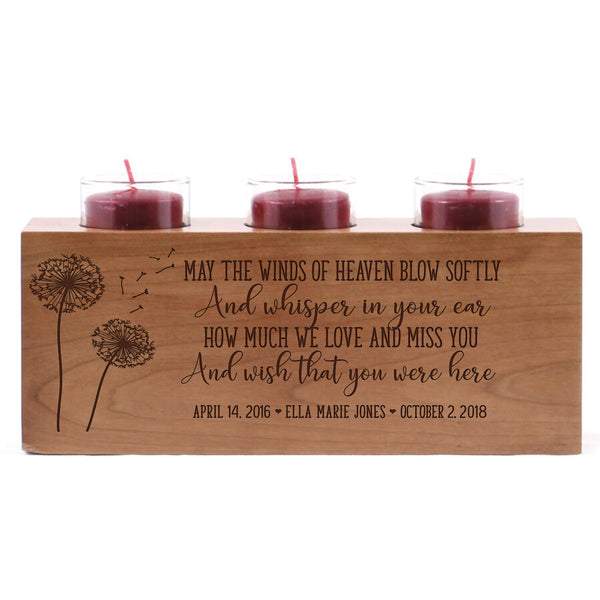 "Personalized Baby Memorial sympathy candle holder custom engraved wood keepsake ideas for Loved One 10"" L x 4"" H by LifeSong Milestones"