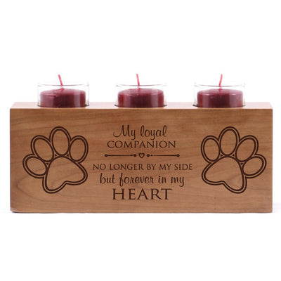 "Pet Memorial sympathy candle holder engraved pet bereavement loss home decoration wood for beloved pet 10"" L x 4"" H by LifeSong Milestones"