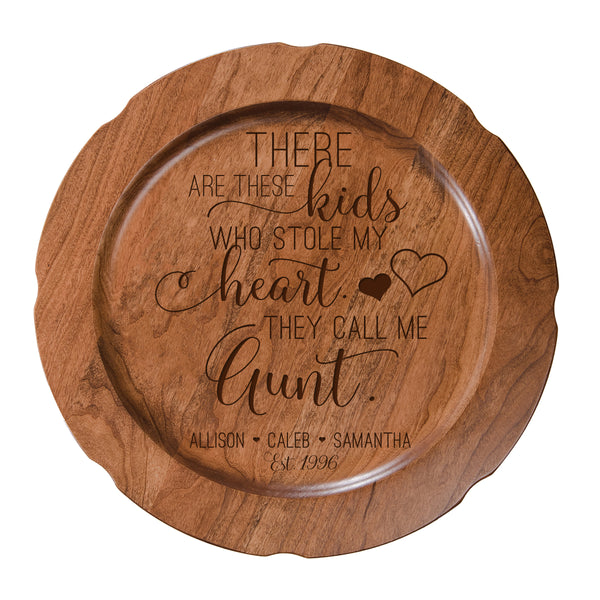 Personalized Mother's Day Cherry Wooden Plates - These Kids Aunt