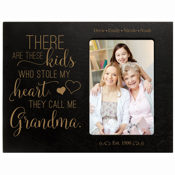 "Personalized Mother's Day Frame Holds 4"" x 6"" Photo These Kids Grandma"