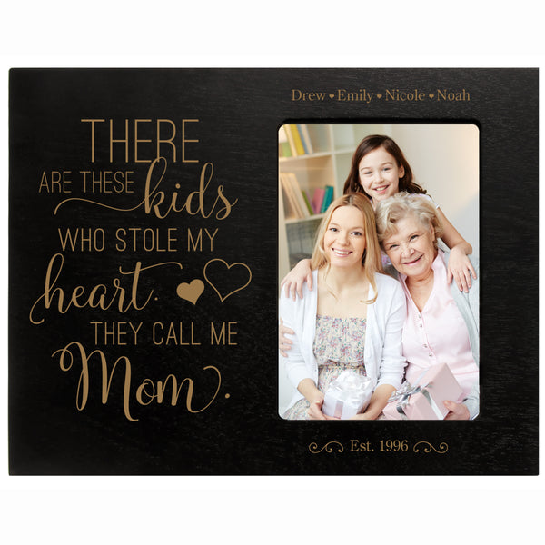 "Personalized Mother's Day Frame Holds 4"" x 6"" Photo These Kids Mom Black"