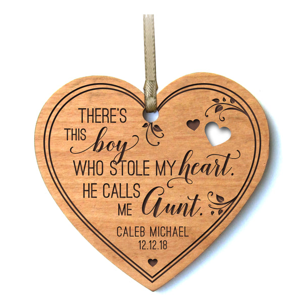 LifeSong Milestones Personalized Mother's Day Gift From Son, Grandson, Nephew Solid Cherry Wood Heart Ornament Family Keepsake There's This Boy