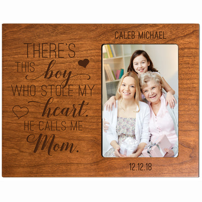 "LifeSong Milestones Personalized Mother's Day Gift From Son, Grandson, Nephew Solid Wood Vertical Frames Family Keepsake 8""x10"" Holds 4""x6"" Photo There's This Boy"