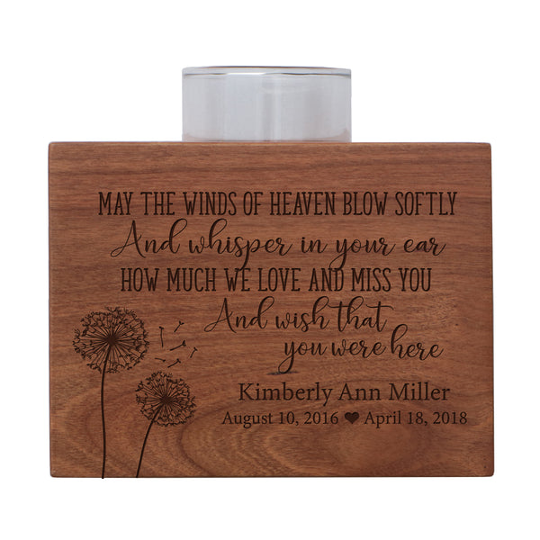 "Personalized Memorial sympathy votive candle holder cherry wood keepsake gift ideas for Loved One 3.75"" x 3.75"" x 2.75"" by LifeSong Milestones"