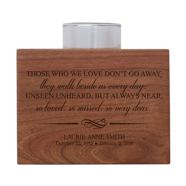 Personalized Memorial Sympathy Votive Candle Holder Cherry Wood Keepsake