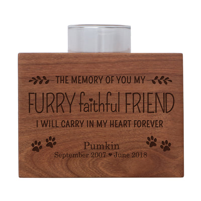 "Personalized Pet Memorial sympathy votive candle holder cherry wood keepsake gift ideas for pet 3.75"" x 3.75"" x 2.75"" by LifeSong Milestones"