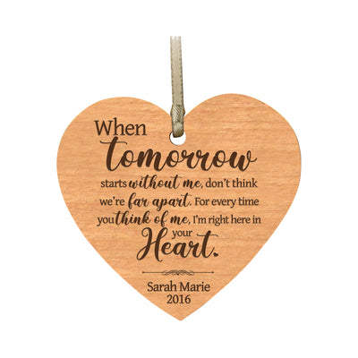 LifeSong Milestones Personalized Memorial Heart Ornament When Tomorrow Starts Bereavement Keepsake Ornament Loss of Loved One Sympathy Home Decor