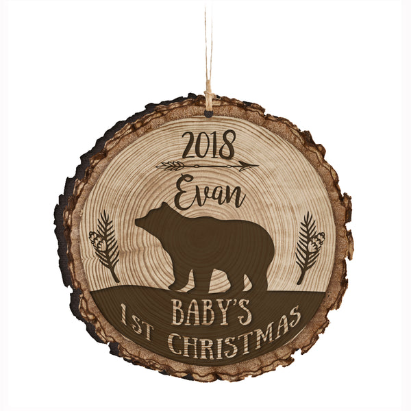 Personalized Round Bark Wood Ornament Baby's First Christmas