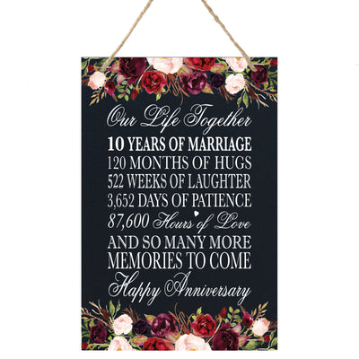 "LifeSong Milestones Wooden Wedding Anniversary Rope Sign - 8""x12"" Gift and Home Decor for married couple"