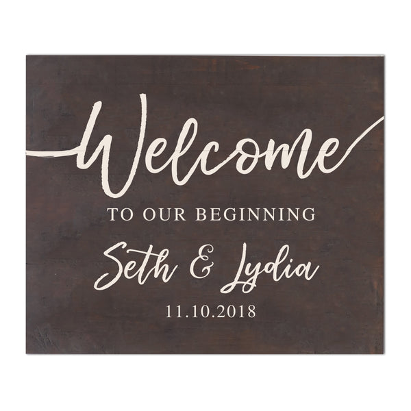 Welcome to Our Beginning Personalized Pallet Wood Wedding Sign