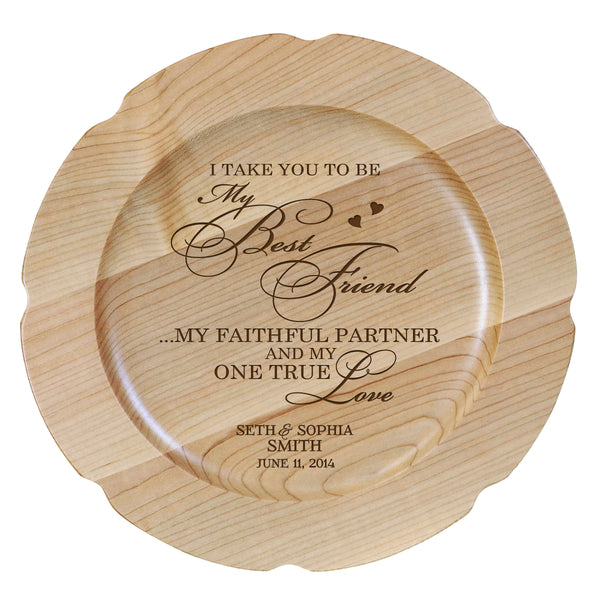 "Personalized Wood Wedding Vow Anniversary Plate Gift for Her, Happy Anniversary for Him, 12"" D Engraved for Husband or Wife by LifeSong Milestones USA Made"