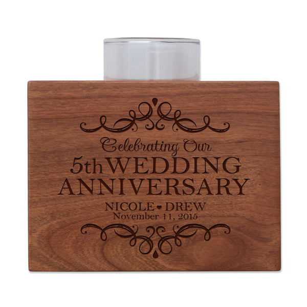 "LifeSong Milestones Personalized Fifth Wedding Anniversary Gifts for Parents, Couple Cherry Candle Votive Holder for table party decorations or centerpiece keepsake 3.75""x3.75"""