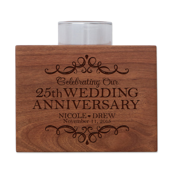 "LifeSong Milestones Personalized Twenty Fifth Wedding Anniversary Gifts for Parents, Couple Cherry Candle Votive Holder for table party decorations or centerpiece keepsake 3.75""x3.75"""