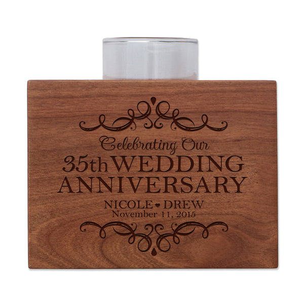 "LifeSong Milestones Personalized First Wedding Anniversary Gifts for Parents, Couple Cherry Candle Votive Holder for table party decorations or centerpiece keepsake 3.75""x3.75"""