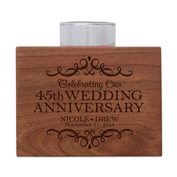 "LifeSong Milestones Personalized Forty Fifth Wedding Anniversary Gifts for Parents, Couple Cherry Candle Votive Holder for table party decorations or centerpiece keepsake 3.75""x3.75"""