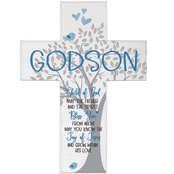 LifeSong Milestones Baptism Gift for Godson, Godchild - Christening Pallet Hanging Wall Cross from Godparents for First Holy Communion