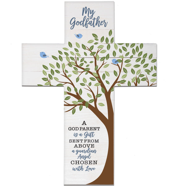LifeSong Milestones Baptism Gift for Godfather - Christening Pallet Hanging Wall Cross from Godchild Godson Goddaughter for First Holy Communion 19x14